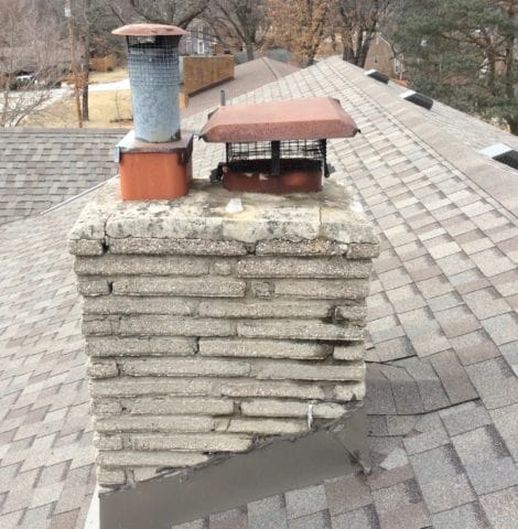 Merriam Masonry Chimney before repairs