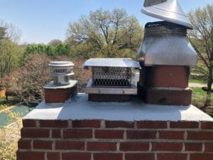 Mission Hills Masonry Chimney during repairs