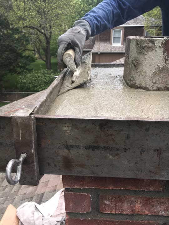 Full Service Chimney Crown pour overhang