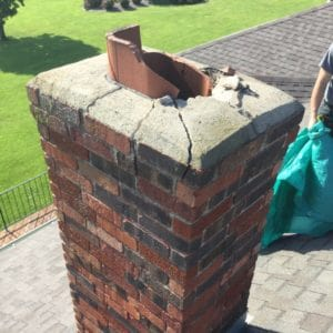 Damaged Flue Tile and Crown in Paola needs repair