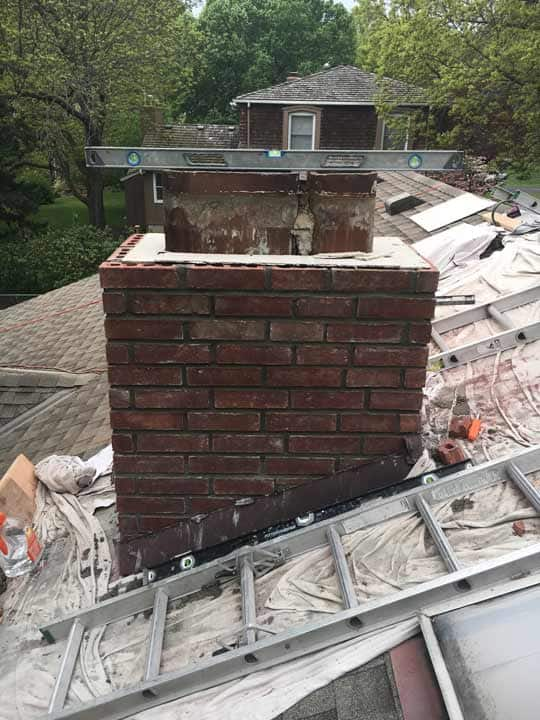 chimney repair brick in progress