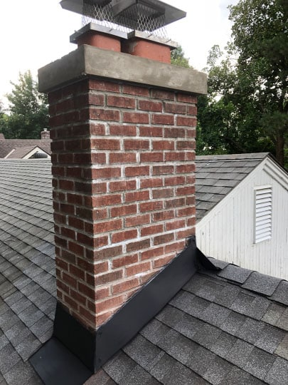 chimney after brickwork and new flashing