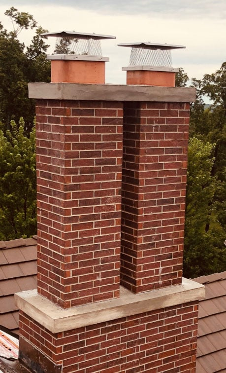 Bridged Crown Chimney with New Caps