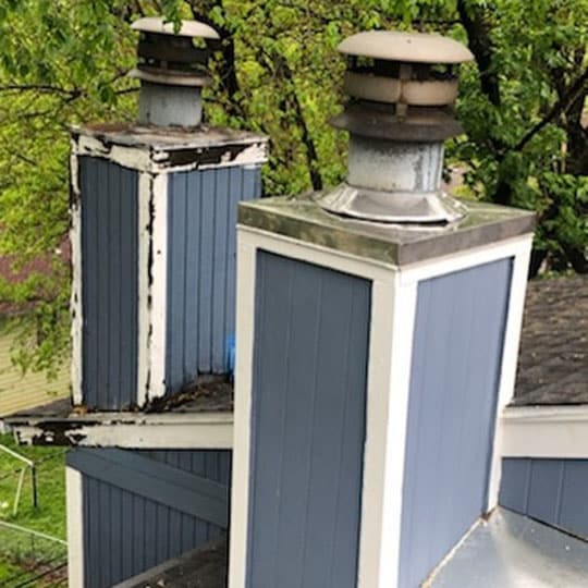 before and after Prefab chimney chase repair