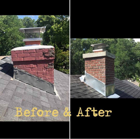 before and after brick chimney repairs new crown and cap