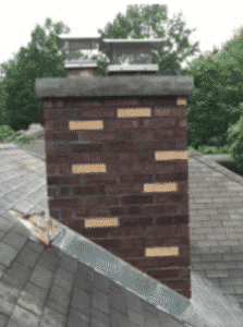 Completed brickwork of chimney