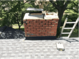Chimney storm damage before masonry work