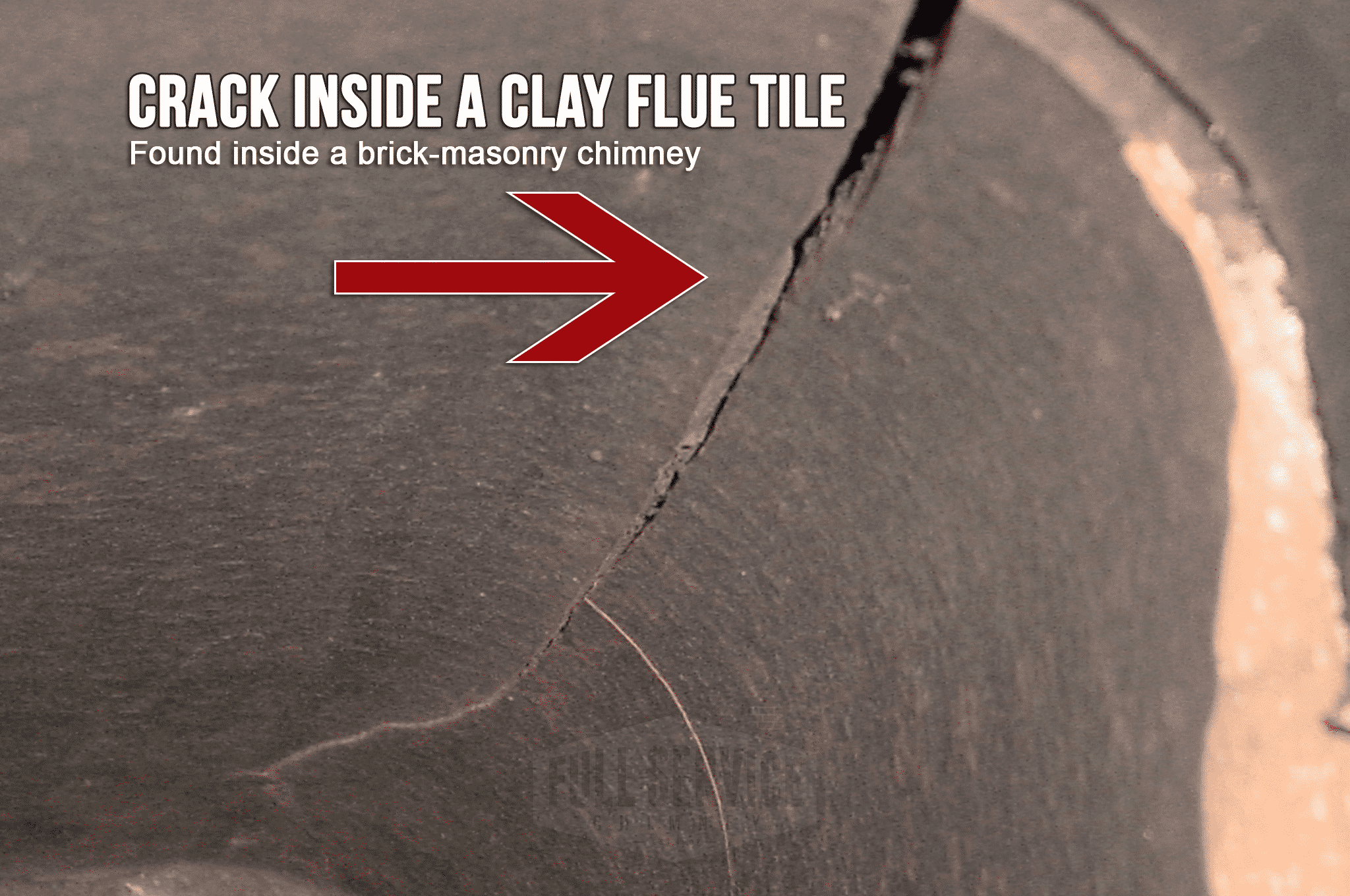 Close Up Crack Flue Tile Liner