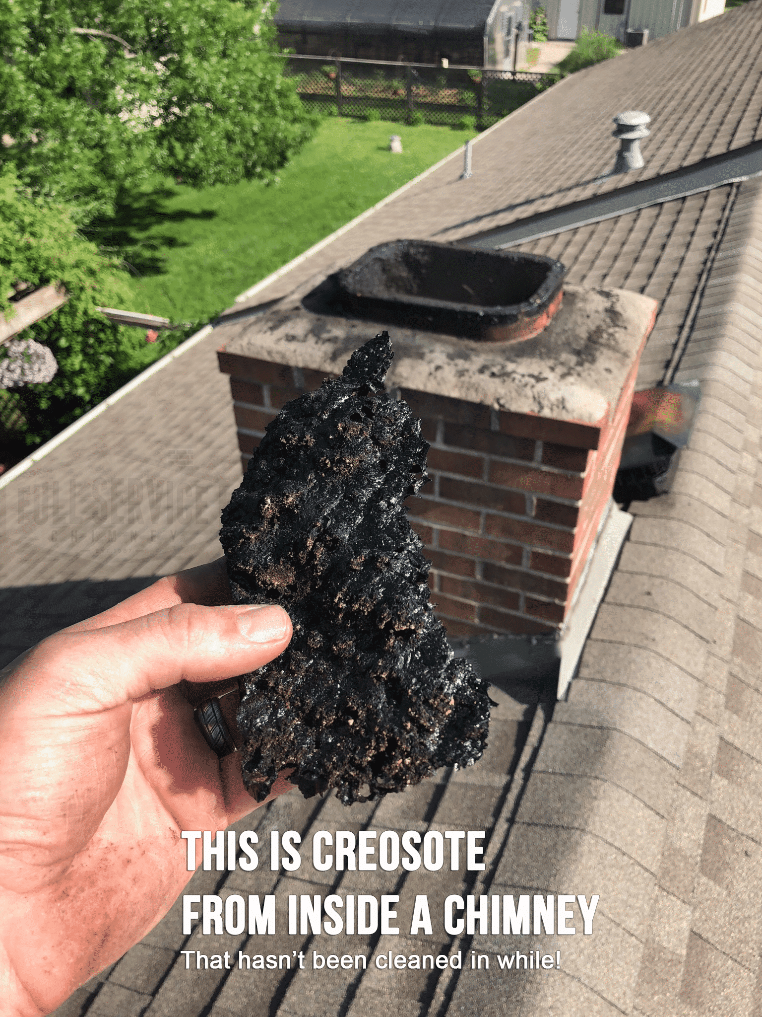Creosote from inside a chimney