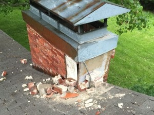 Result of lightening strike that hit a customer's chimney