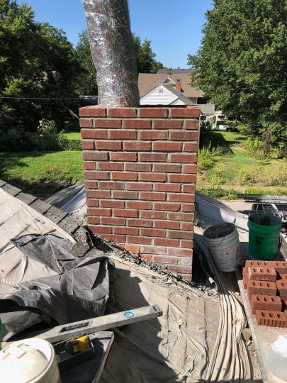 Relining Brick Chimney work in progress