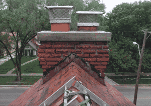 after chimney crown repour with overhanging edge