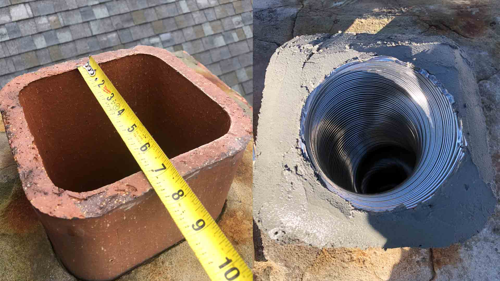 Gas Chimney Steel Liner Before After Repair
