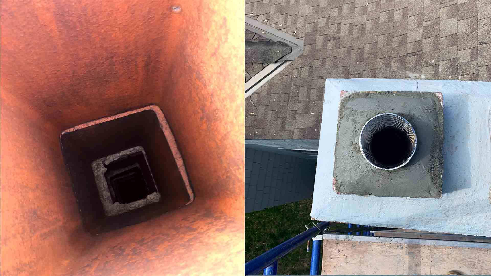 Gas Flue Vent Before After Liner Installation