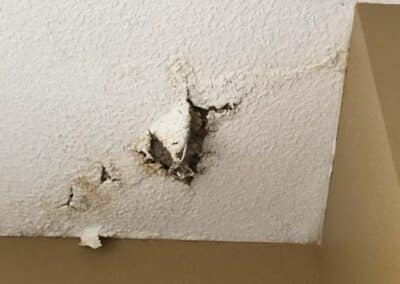 Ceiling Water Damage Caused By Chimney Leak