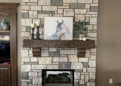 Stone Fireplace Surround with Wooden Mantel