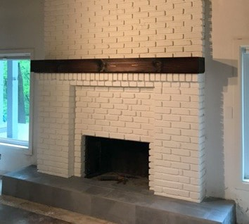 White Brick Painted Fireplace