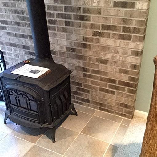 Wood Stove on Tile Surround