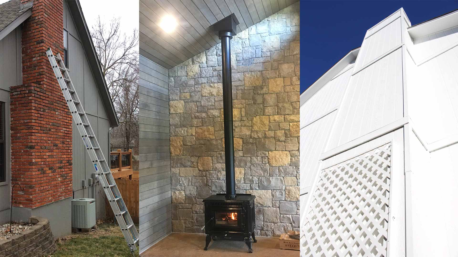 3 Types of Chimneys Masonry, Wood Stove, and Prefab with Siding