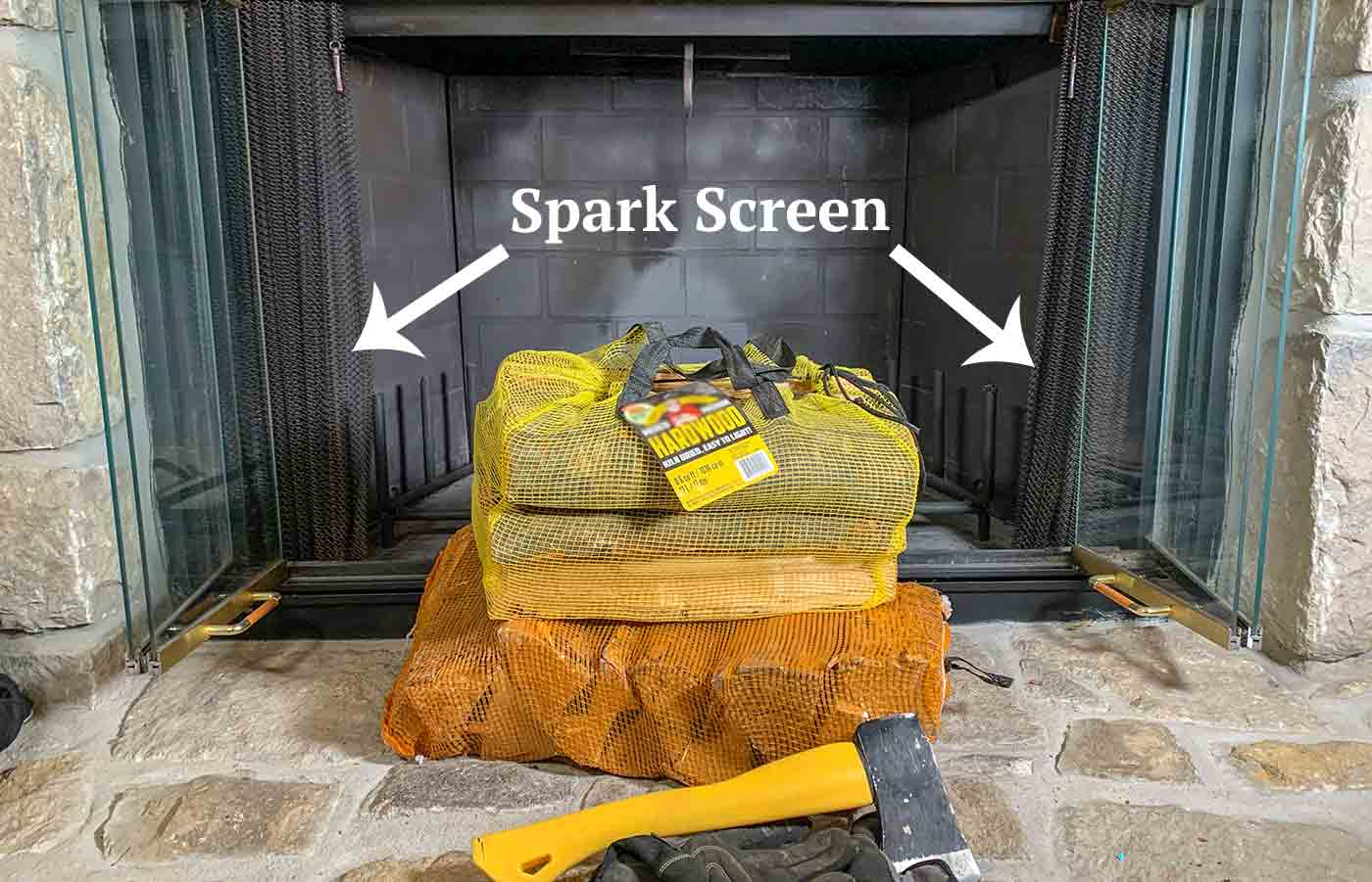 Example Fireplace Spark Screen with logs