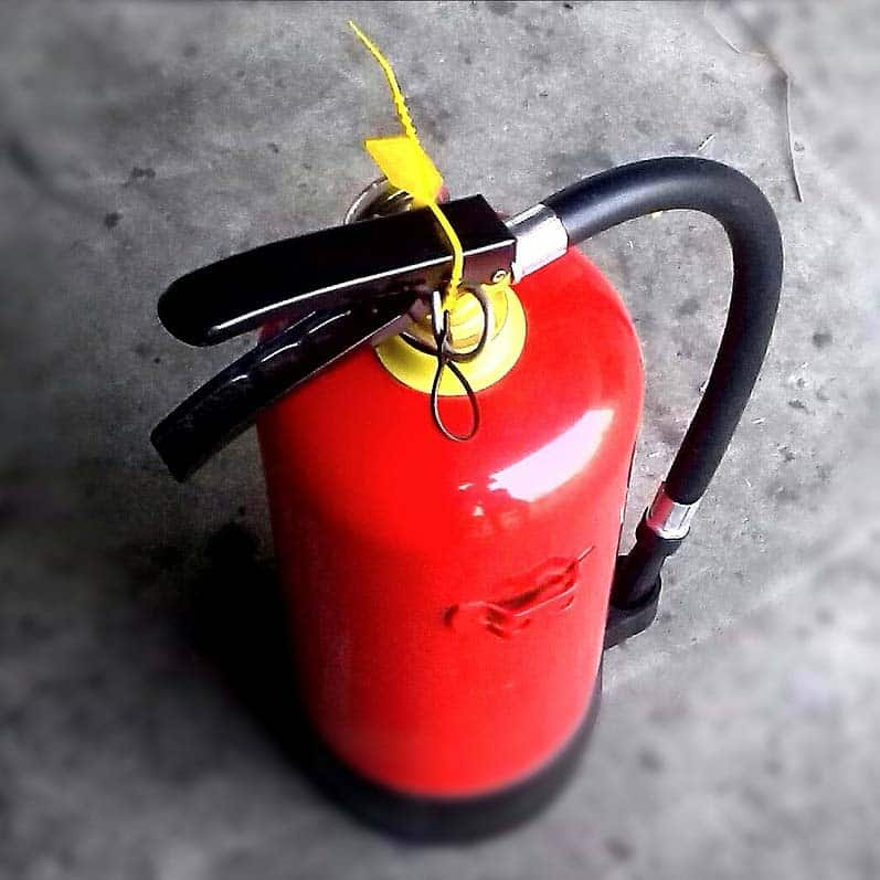 when burning a fire you need an extinguisher handy!