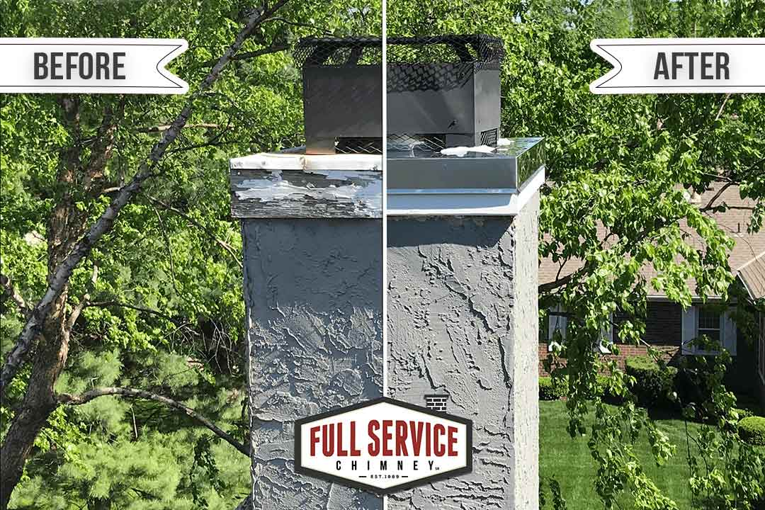 Stainless Steel Chimney Chase Cover Before and After