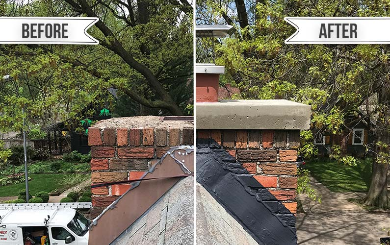 Before and After Brick Chimney Crown, Cap, and Flashing