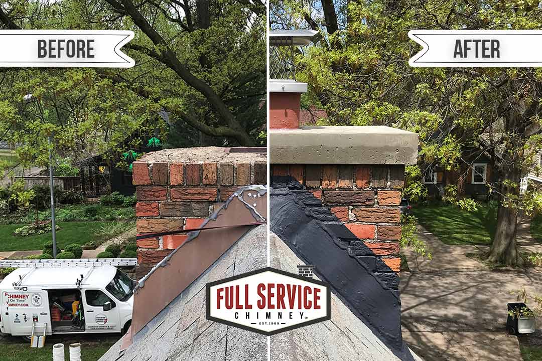 Before and After Brick Chimney Flashing