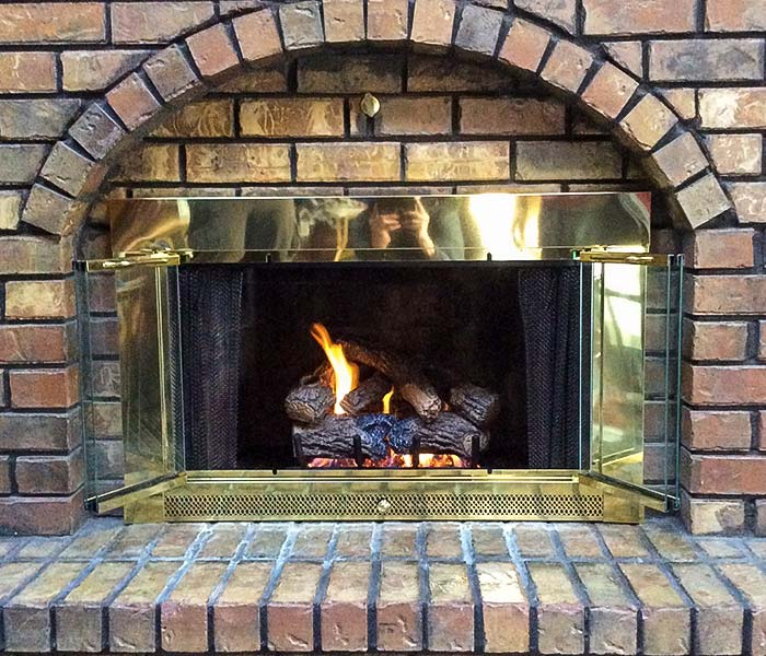 Gas Log installation in masonry fireplace