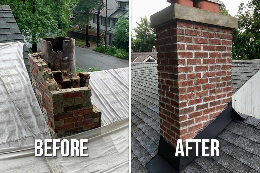 Rebuilding Brick Chimney Before and After Images