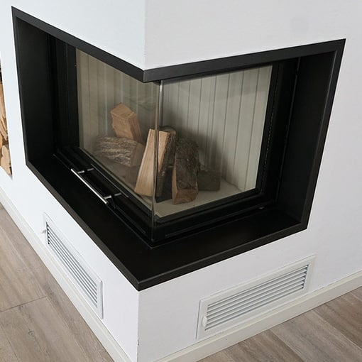 Glass Doors on a Corner Fireplace