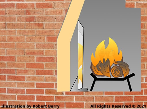 Fireplace Reflective Fireback Illustration