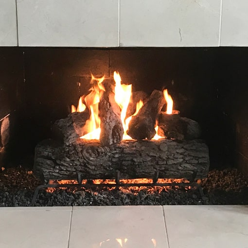 Vibrant flames in gas fireplace