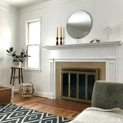 White Mantel fireplace in nice living room