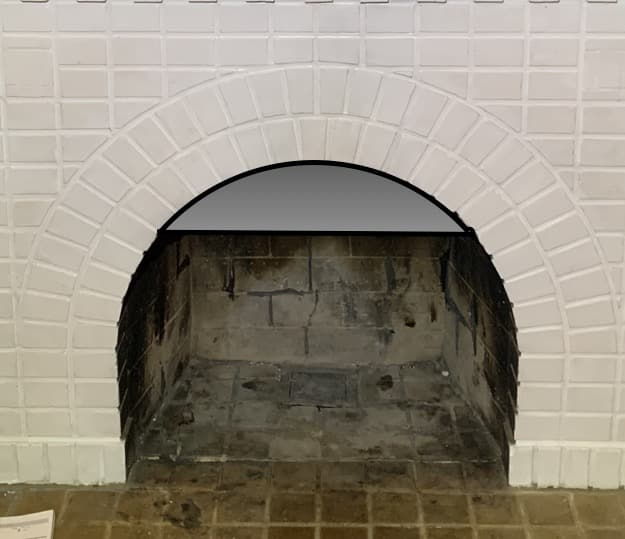 White Painted Brick Fireplace with Virtual Smoke Guard Built-in
