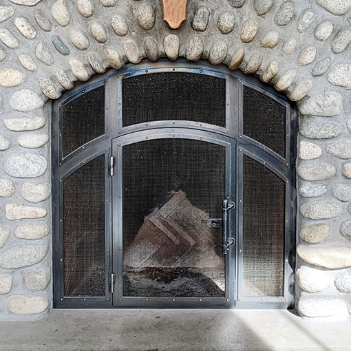 Metal Built-in Fireplace Screen Doors