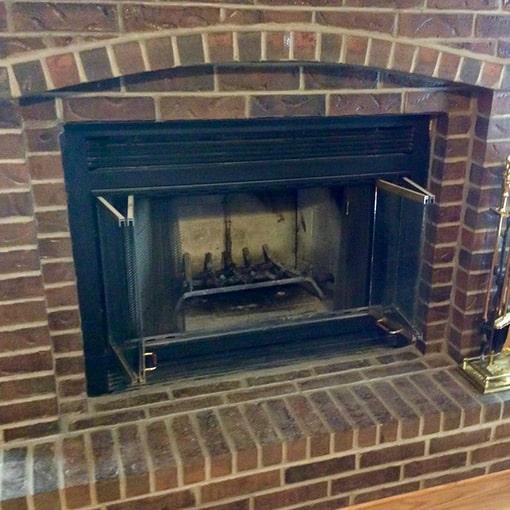 Prairie Village Brick Fireplace