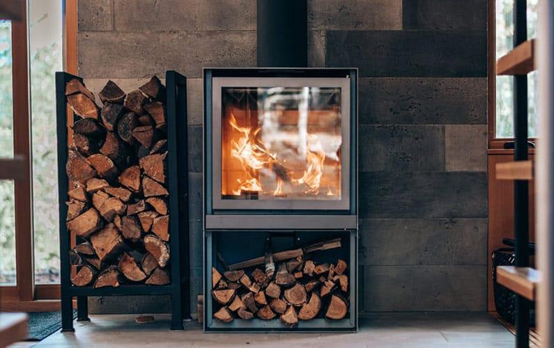 wood stove fire ash