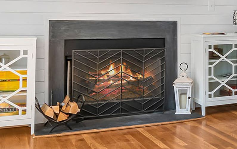 single panel glass fireplace screen