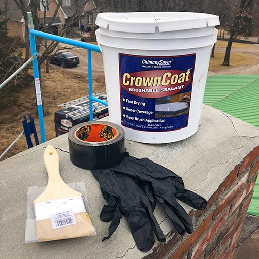 CrownCoat Brushable Sealant with Gloves Tape and Brush on a Chimney for Resurfacing