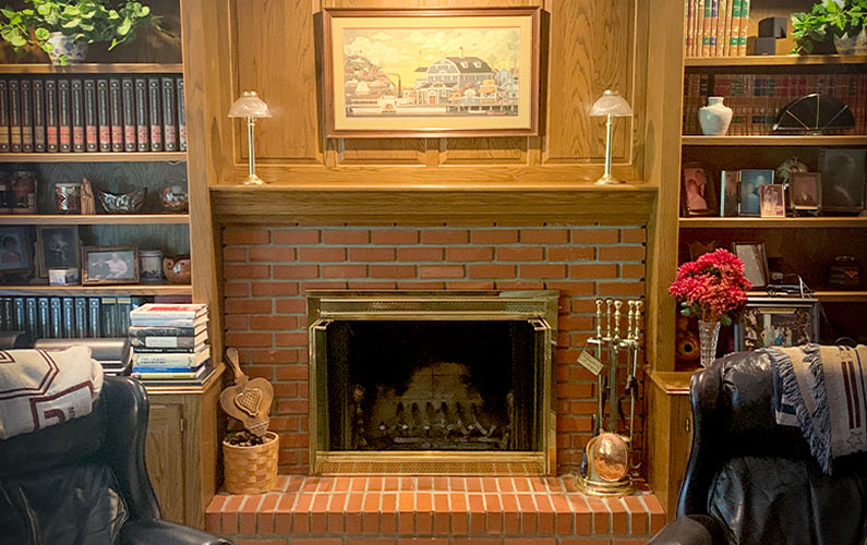 Traditional fireplace in office