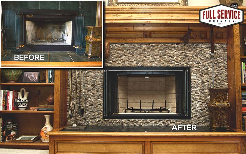 Prefabricated firebox installation before and after