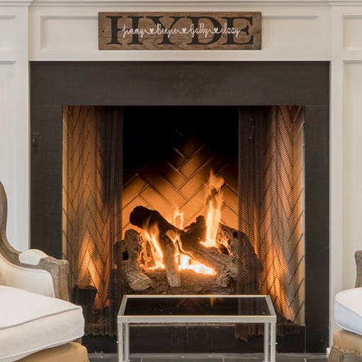 Herringbone fire brick pattern in prefab firebox